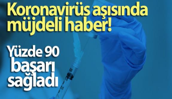 Koronavirüs aşısında müjdeli haber! Yüzde 90 başarı sağladı