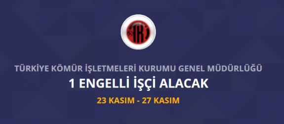 Türkiye kömür işletmeleri kurumu 1 engelli işçi personel alımı yapacak