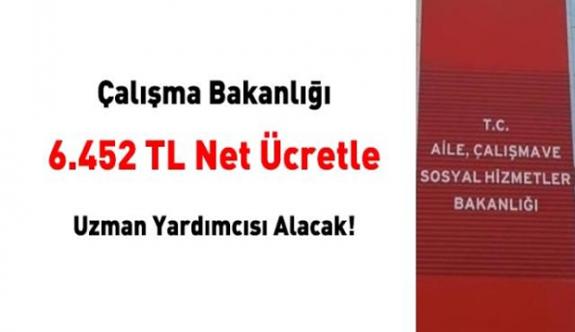 Çalışma Bakanlığı 6.452 TL 250 net ücretle uzman yardımcısı alımı ilanı