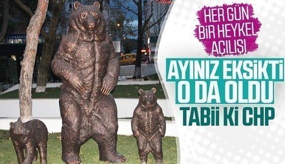 CHP'li Bilecik Belediyesi ayı heykeli yaptı