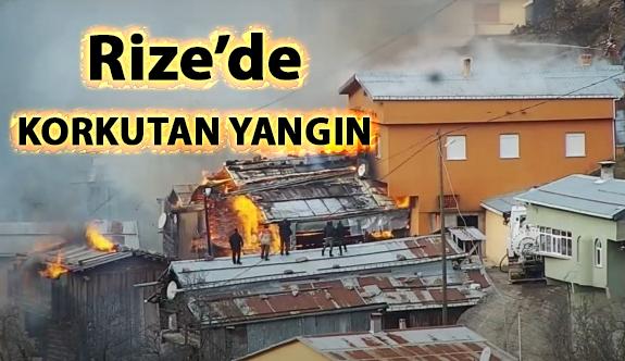 Rize'de çıkan yangında 7 ev tamamen yandı
