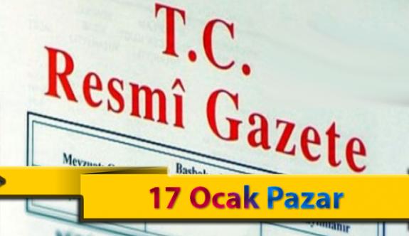 17 Ocak Pazar 2021 Resmi Gazete Kararları