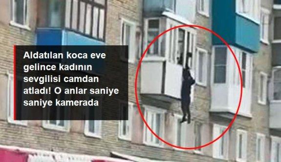Aldatılan koca eve gelince, kadının sevgilisi camdan atladı