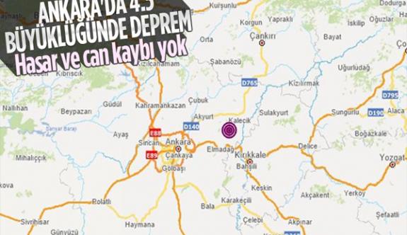 Ankara'nın Kalecik ilçesinde 4,5 büyüklüğünde deprem meydana geldi
