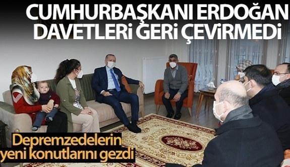 Cumhurbaşkanı Erdoğan Elazığ`da katıldığı deprem konutlarında ev ziyareti