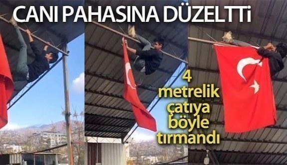 Üniversite öğrencisi ipi kopan Türk bayrağını canı pahasına düzeltti