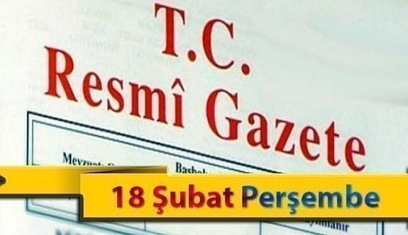 18 Şubat Perşembe 2021 Resmi Gazete Kararları