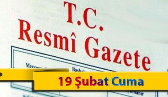 19 Şubat Cuma 2021 Resmi Gazete Kararları