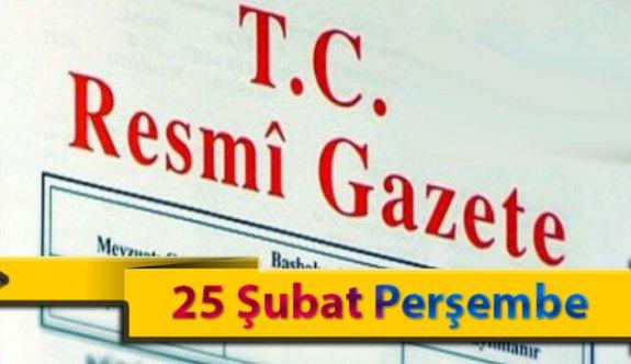25 Şubat Perşembe 2021 Resmi Gazete Kararları