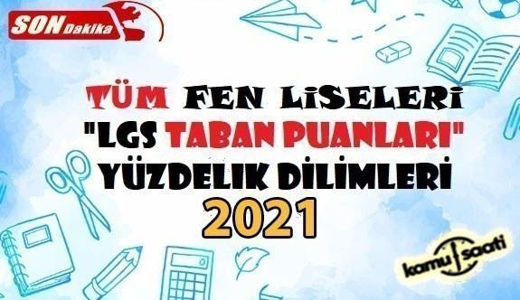 Fen Liseleri Taban Puanları Yüzdelik Dilimleri Öğrenci Kontenjanları 2021 LGS