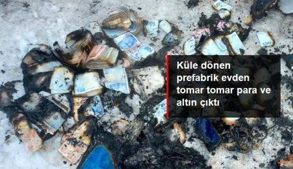 Kocaeli'de küle dönen prefabrik evden 500 bin TL ve binlerce liralık altın çıkarıldı