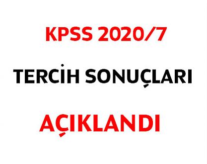 KPSS 2020/7 tercih sonuçları açıklandı