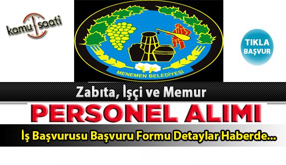 Menemen Belediyesi Personel Alımı İş ilanları ve Başvuru Formu