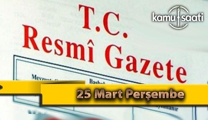 25 Mart Perşembe 2021 Resmi Gazete Kararları