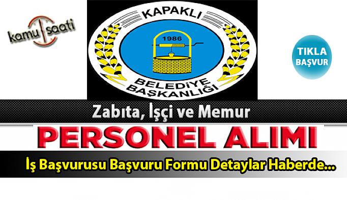 Kapaklı Belediyesi Personel Alımı İş ilanları ve Başvuru Formu