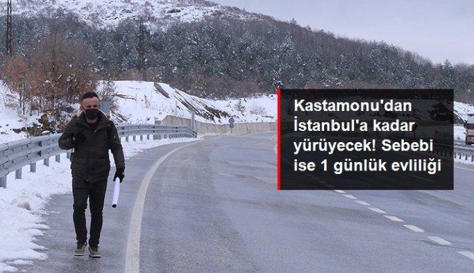 1 günlük evliliği yüzünden yıllardır nafaka ödeyen genç adam Kastamonu'dan İstanbul'a kadar yürüyecek