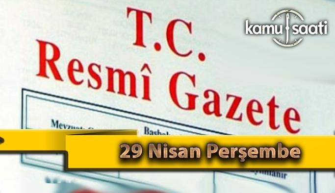29 Nisan Perşembe 2021 Resmi Gazete Kararları