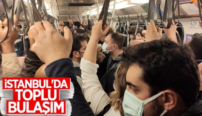 İstanbul'da metro seferleri aksadı, sosyal mesafe kalmadı