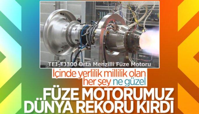 Türkiye'nin ilk orta menzilli füze motoru TEI-TJ300, dünya rekoru kırdı