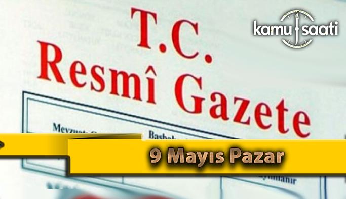 9 Mayıs Pazar 2021 Resmi Gazete Kararları