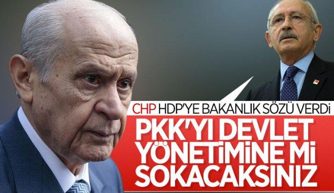 Devlet Bahçeli, CHP'nin HDP'ye bakanlık sözünü eleştirdi