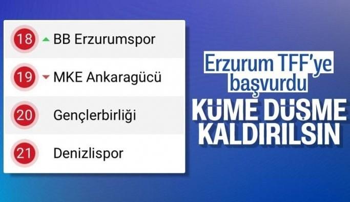 Erzurumspor'dan TFF'ye küme düşmenin kaldırılması için başvuru