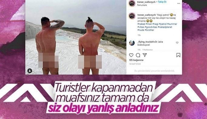 Pamukkale'de 2 turist çıplak fotoğraf çektirdi