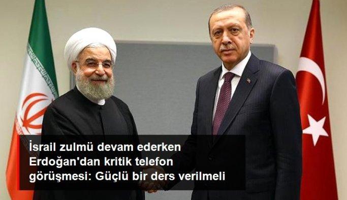 Son dakika! Erdoğan'ın İran Cumhurbaşkanı Ruhani ile görüşmesinden dikkat çeken mesaj: İsrail'e caydırıcı bir ders verilmeli