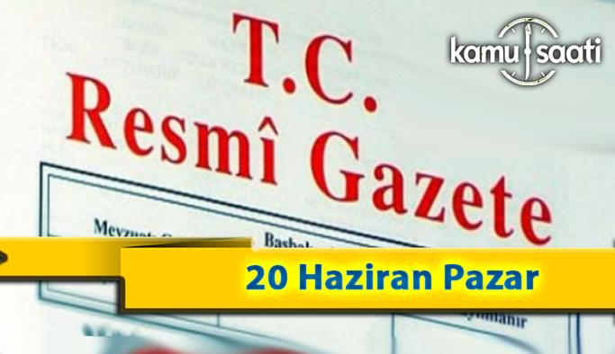 20 Haziran Pazar 2021 Resmi Gazete Kararları