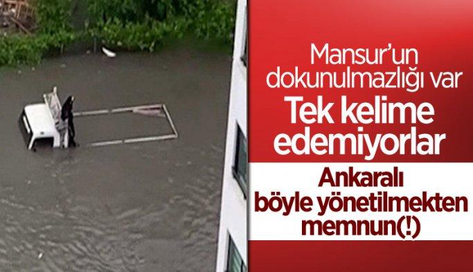 Ankara'da sel sonrası araçlar su altında kaldı Belediyeyi gören yok !