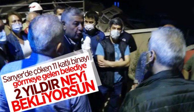 Sarıyer'de çöken binayı görmeye gelen belediye başkanı Şükrü Genç'e tepki