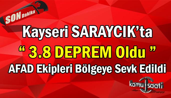 Kayseri'nin Saraycık Mahellesinde korkutan deprem meydana geldi