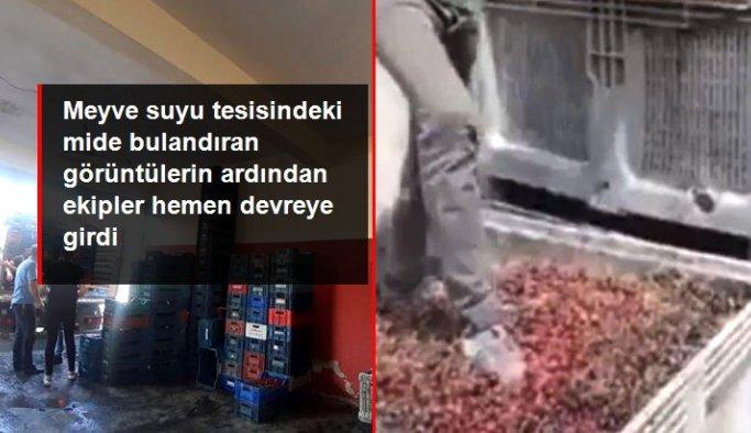 Meyve suyu tesisinde mide bulandıran görüntülerin ardından işletme sahibi ve 3 çalışanı gözaltına alındı