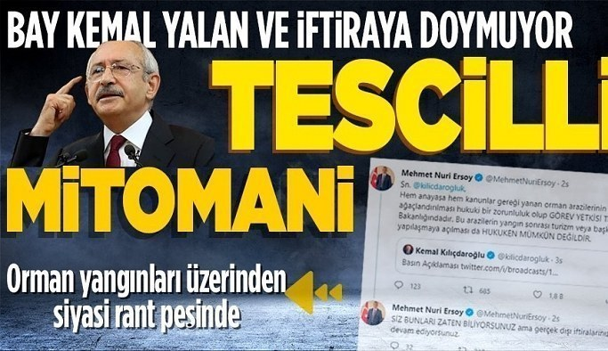 CHP Genel Başkanı Kemal Kılıçdaroğlu orman yangınları üzerinden siyasi rant peşinde: Yalana ve iftiraya doymuyor