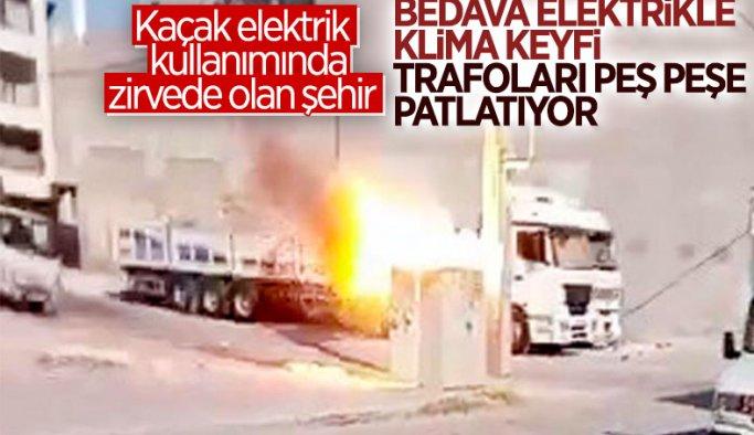 Faturalar Şişerse Çözüm Kaçak ! Şanlıurfa'da patlayan elektrik trafosu, panik yarattı