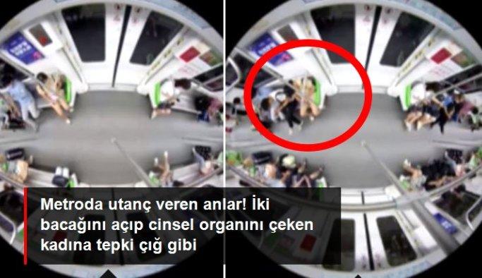 Metroda utanç veren anlar! İki bacağını açıp cinsel organını çeken kadına tepki çığ gibi