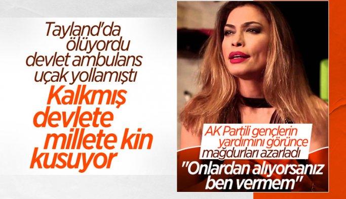 Oyuncu Leyla Bilginel, Manavgat'ta yangınzedeleri azarladı