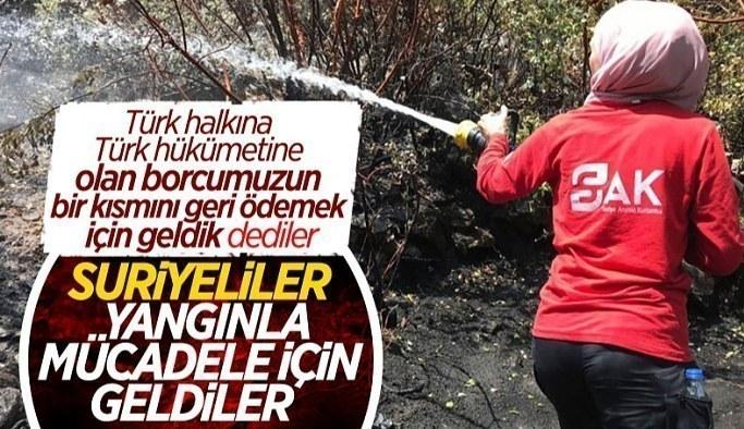 Suriyeliler, yangınlarla mücadele için Türkiye'ye geldi