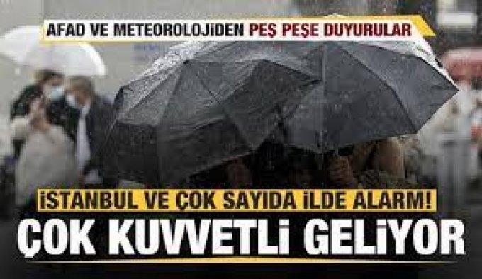 AFAD'dan 7 il için 'çok kuvvetli' yağış uyarısı