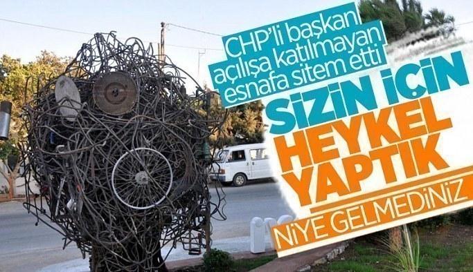 CHP'li Datça Belediyesi'nin Sanayi Ağacı heykelinin açılışı, kimse gelmeyince ertelendi