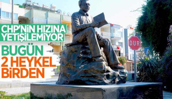 CHP'li Kuşadası Belediyesi'nden 'Sabahattin Ali' heykeli