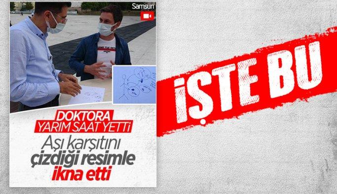 Samsun'da doktorun aşı karşıtı vatandaşı ikna yöntemi