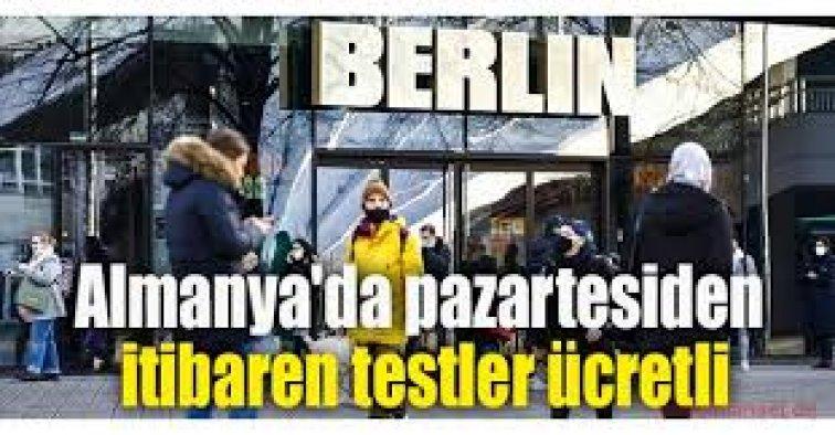 Almanya'da Kovid-19 testleri ücretli oldu