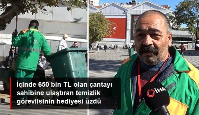 Çöp toplarken süpürgeye takıldı! İçinde 650 bin TL olan çantayı sahibine ulaştıran temizlik görevlisinin hediyesi üzdü