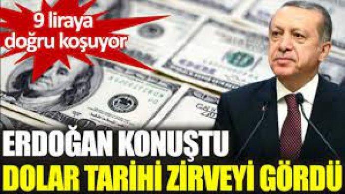Erdoğan'dan Şok Operasyon! mesajı verdi... Dolar, 9 TL'yi aştı