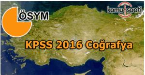 2016 KPSS Coğrafya konu dağılımı