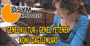 2016 KPSS Genel Kültür, Genel Yetenek sınavı konu dağılımları