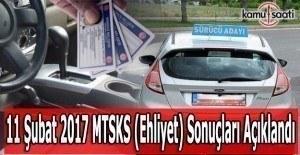 11 Şubat 2017 MTSK (Ehliyet) Sınav sonuçları açıklandı