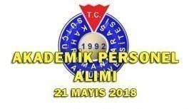 Kahramanmaraş Sütçü İmam Üniversitesi 51 Akademik Personel Alım İlanı - 21 Mayıs 2018