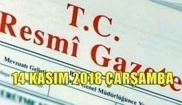 14 Kasım 2018 Çarşamba Tarihli TC Resmi Gazete Kararları